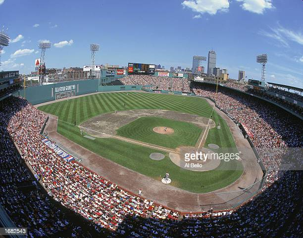 A general view of the baseball diamond taken during the AllStar Game at Fenway Park on June 201999 in Boston Massachusetts