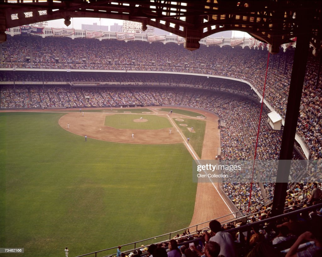 General View of the baseball diamond through the left field upper deck facade during an MLB game on July 22 1972 between the California Angels and...