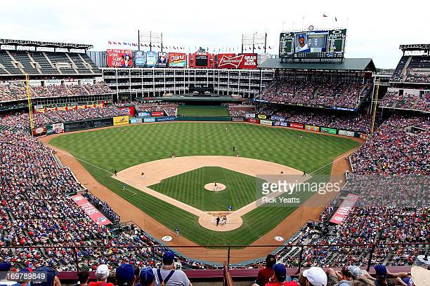 A general view of the baseball field during the game between the Kansas City Royals and the Texas Rangers at Rangers Ballpark in Arlington on June 1...