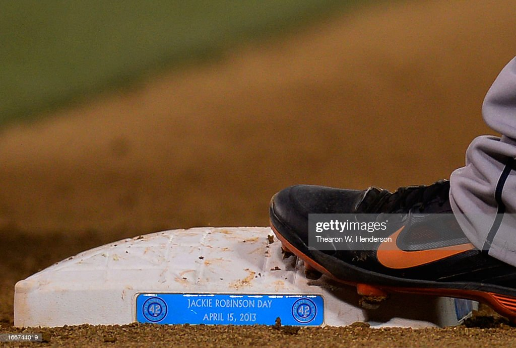 A general view of the bases used during an MLB baseball game between the Houston Astros and Oakland Athletics on Jackie Robinson Day at O.co Coliseum on April 15, 2013 in Oakland, California. All uniformed team members are wearing jersey number 42 in honor of Jackie Robinson Day.
