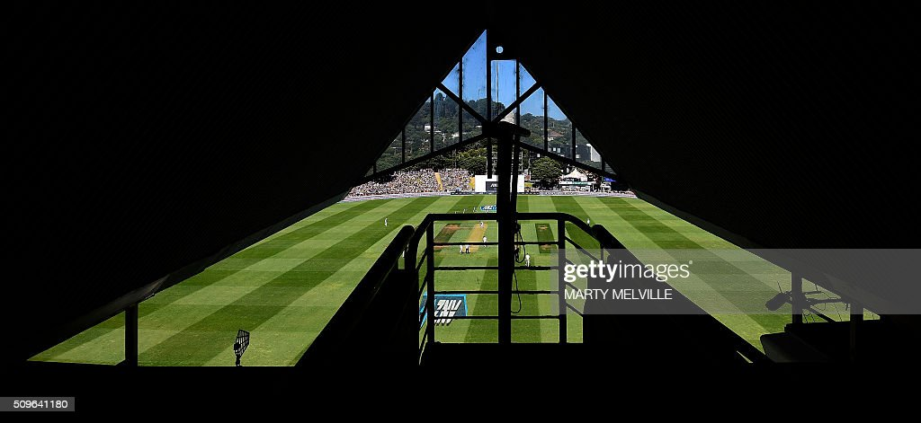 General view of the Basin Reserve during day one of the first cricket international five-day Test match between New Zealand and Australia at the Basin Reserve in Wellington on February 12, 2016. AFP PHOTO / MARTY MELVILLE / AFP / Marty Melville