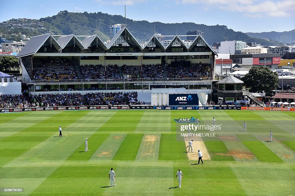 General view of the Basin Reserve during day two of the first cricket Test match between New Zealand and Australia at the Basin Reserve in Wellington on February 13, 2016. AFP PHOTO / MARTY MELVILLE / AFP / Marty Melville