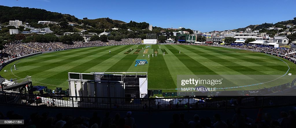 General view of the Basin Reserve during the first cricket international five-day Test match between New Zealand and Australia at the Basin Reserve in Wellington on February 12, 2016. AFP PHOTO / MARTY MELVILLE / AFP / Marty Melville