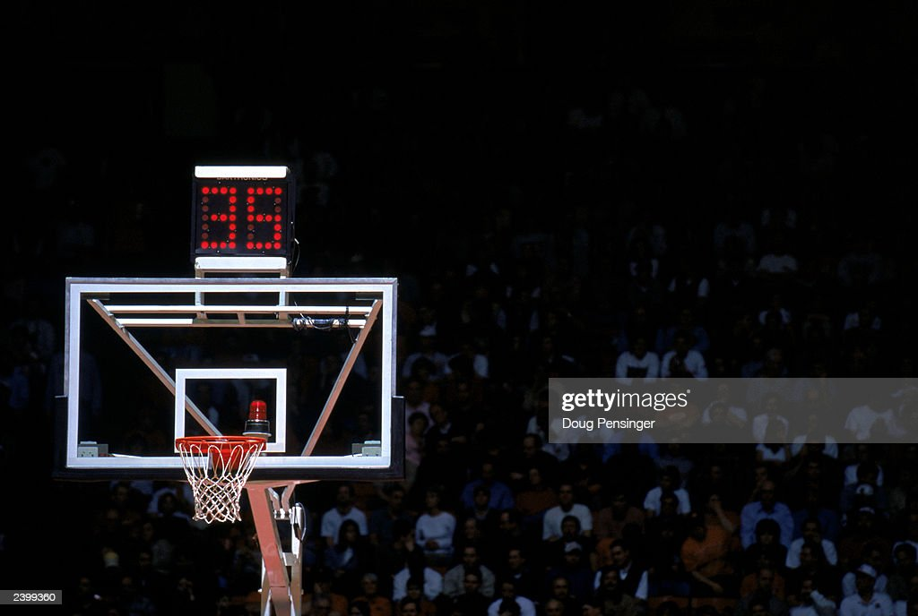 General view of the basket shot clock during the NCAA game between the University of Maryland and Florida State University at College Field House on...