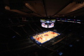 A general view of the basketball court before fans are admitted to the arena prior to the game between the New York Knicks and the Indiana Pacers at...