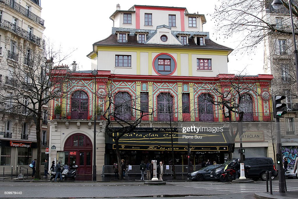 General view of the 'Bataclan Cafe'on February 13, 2016 in Paris, France. People continue to leave tributes to victims three months after the Paris terrorist attacks.