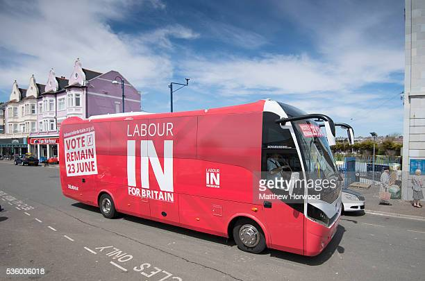 A general view of the 'battle bus' during a visit to Whitmore Bay in Barry on the the Labour IN for Britain campaign battle bus on May 31 2016 in...