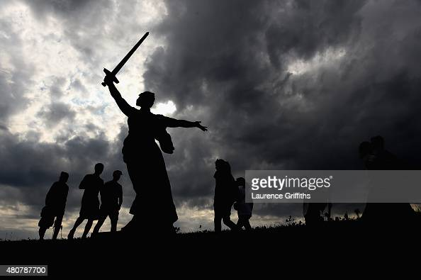 A general view of the Battle of Stalingrad Heoroes Memorial at Mamayev Kurgen during a media tour of Russia 2018 FIFA World Cup venueson July 15 2015...