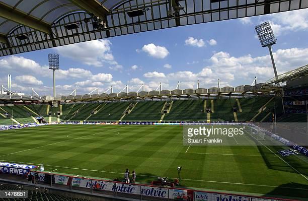 General view of the BayArena stadium taken on August 17 2002 before the Bundesliga match between Bayer Leverkusen and Borussia Dortmund in Leverkusen...