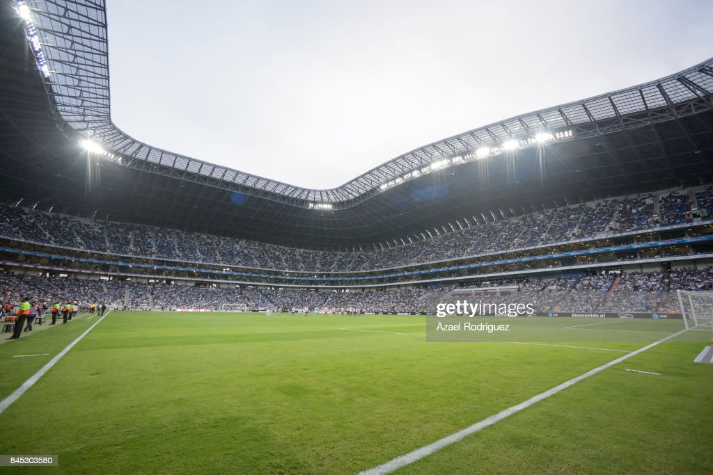 General view of the BBVA Stadium as players and asistants pay homage to the victims of the september 7th earthquake prior the 8th round match between Monterrey and Necaxa as part of the Torneo Apertura 2017 Liga MX at BBVA Bancomer Stadium on September 9, 2017 in Monterrey, Mexico.