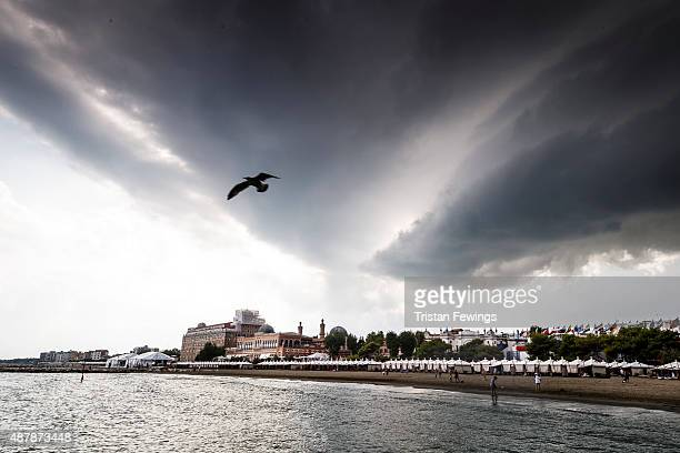 A general view of the beach during the 72nd Venice Film Festival on September 12 2015 in Venice Italy