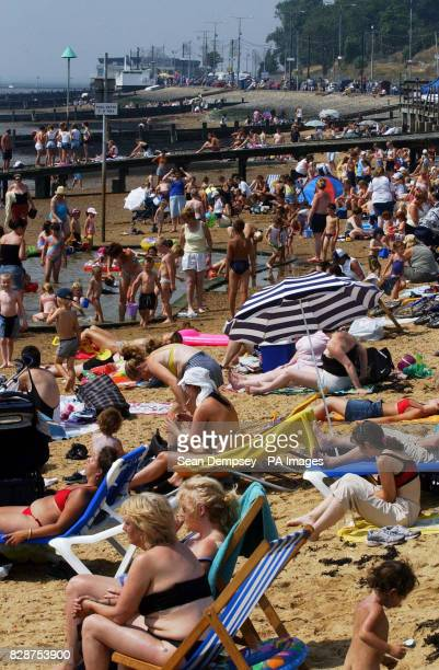 General view of the beach in Southend on Sea Essex Britain's heatwave could peak with record temperatures setting a new alltime high for the countrys...