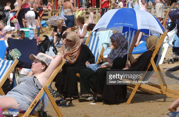 General view of the beach in Southend on Sea Essex Britains heatwave could peak with record temperatures setting a new alltime high for the country's...