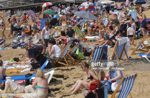 General view of the beach in Southend on Sea Essex Britain's heatwave could peak with record temperatures setting a new alltime high for the...