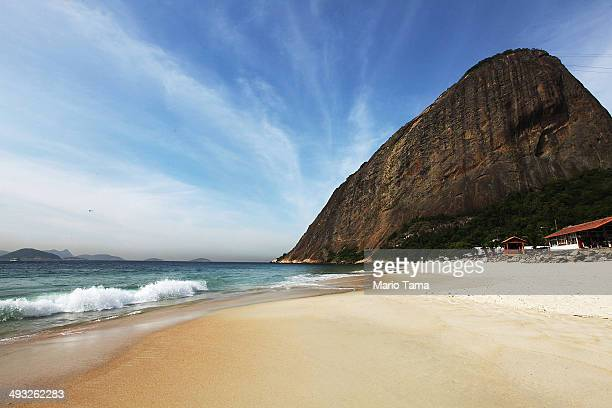 General view of the beach near the England national team training ground at the Urca military base beach on May 22 2014 in Rio de Janeiro Brazil The...