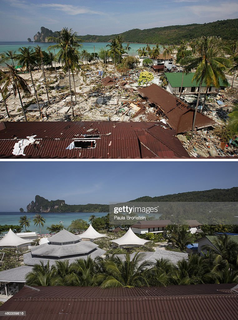 In this composite image a comparison has been made between a scene in 2004 and 2014 PHI PHI ISLAND THAILAND DECEMBER 12 A general view of the beach...