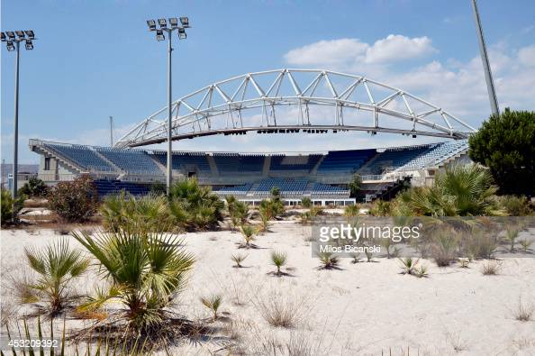 General view of the Beach Volleyball Olympic Stadium at Faliro Olympic Complex in Athens Greece on July 31 2014 Ten years ago the XXVIII Olympiad was...