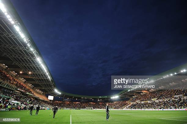 General view of the Beaujoire stadium taken prior to the French L1 football match Nantes vs Lens on August 9 2014 in Nantes AFP PHOTO / JEANSEBASTIEN...