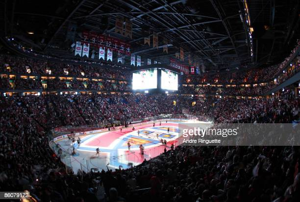 A general view of the Bell Centre before Game Three of the Eastern Conference Quarterfinal Round of the 2009 Stanley Cup Playoffs between the...