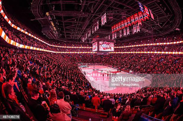General view of the Bell Centre during the singing of the Canadian anthem prior to the NHL game between the Montreal Canadiens and the Vancouver...