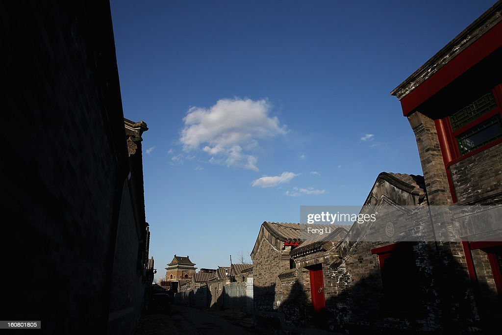 A general view of the Bell Tower through an alley on February 6, 2013 in Beijing, China.