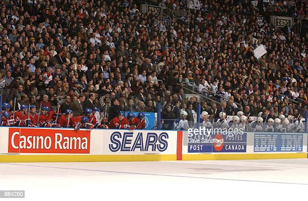 General view of the benches of the Toronto Maple Leafs and the Montreal Canadiens during the NHL game at Air Canada Centre in Toronto Canada on...