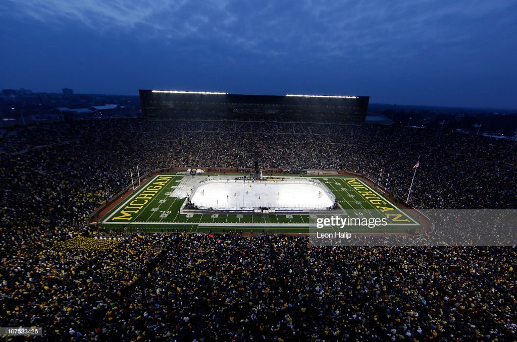 A general view of the Big Chill game between the Michigan State Spartans and Michigan Wolverines with an attendance of 113,441, the largest crowd to ever watch a hockey game, at Michigan Stadium on December 11, 2010 in Ann Arbor, Michigan. The Wolverines defeated the Spartans 5-0.
