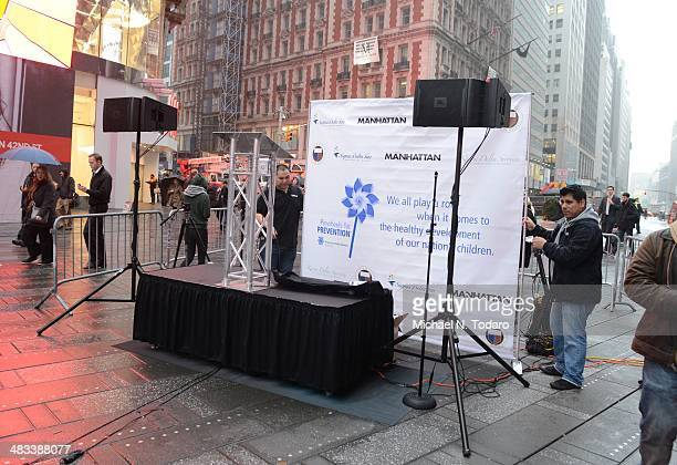 General View of 'The Big Pinwheel Garden' In NYC For Child Abuse Prevention Month at Times Square Broadway Plaza on April 8 2014 in New York City