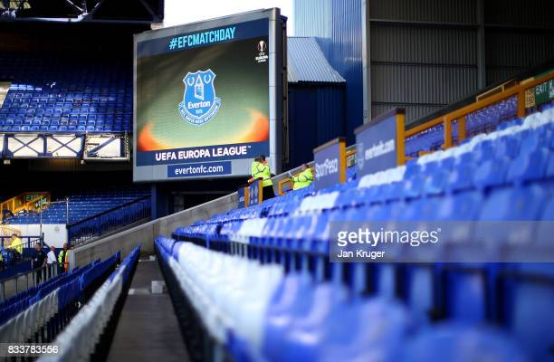 A general view of the big screen ahead of the UEFA Europa League Qualifying PlayOffs round first leg match between Everton FC and Hajduk Split at...