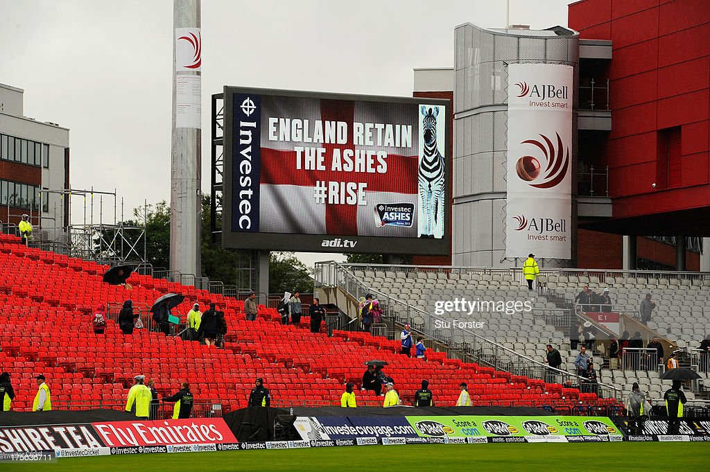 A general view of the big screen as England regain the Ashes after the match was drawn during day five of the 3rd Investec Ashes Test match between England and Australia at Emirates Old Trafford Cricket Ground on August 5, 2013 in Manchester, England.