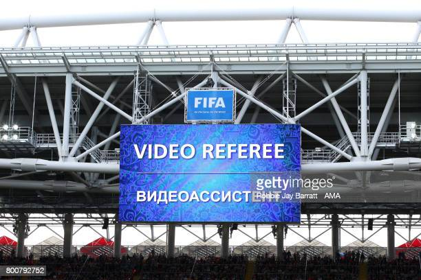 General View of the big screen showing the Video Referee is deliberating during the FIFA Confederations Cup Russia 2017 Group B match between Chile...