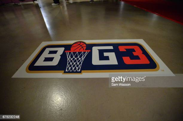 A general view of the BIG3 logo at the 2017 BIG3 draft at Planet Hollywood Resort Casino on April 30 2017 in Las Vegas Nevada