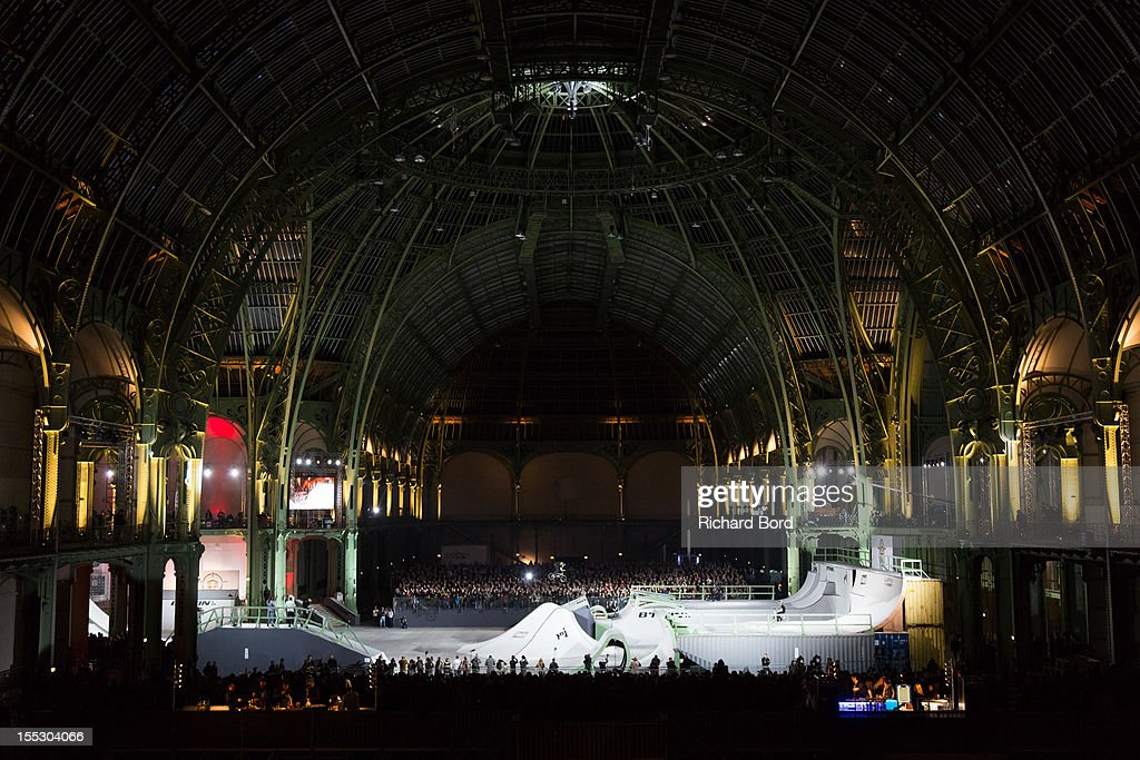 A general view of the bike park during the finals of the RedBull Skylines BMX Contest at Grand Palais on November 2, 2012 in Paris, France.