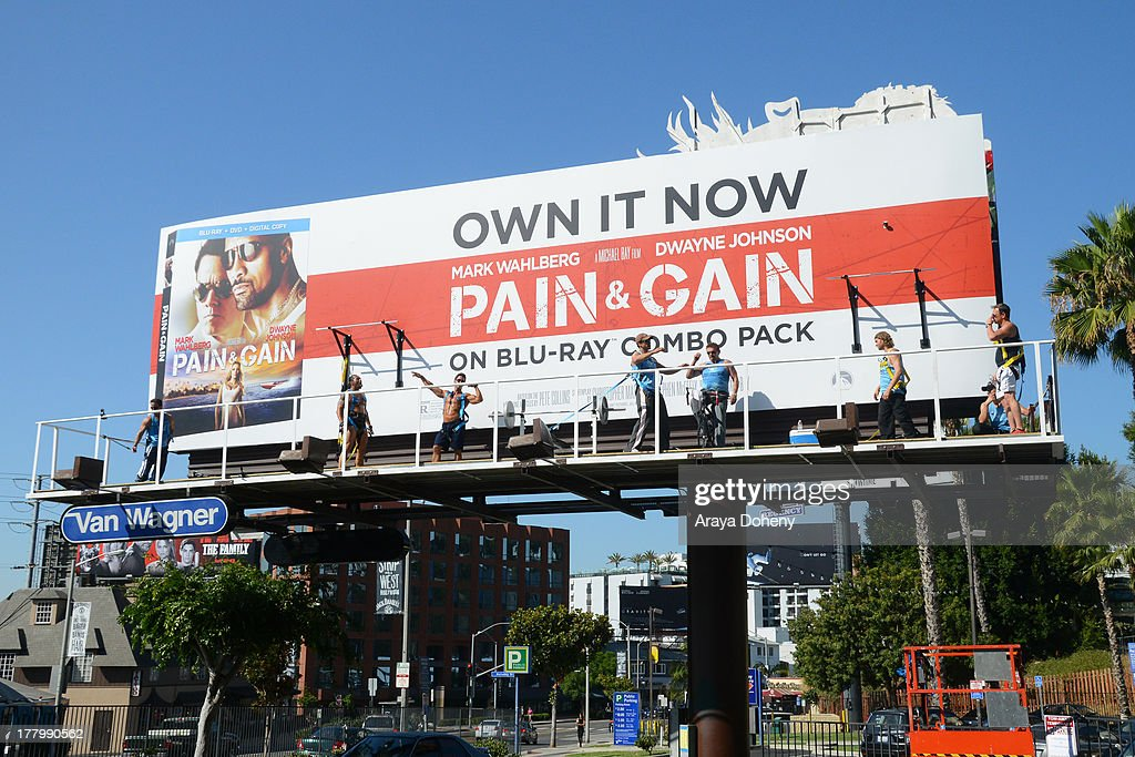 A general view of the billboard promoting the Blu-ray and DVD debut of 'Pain & Gain' on the Sunset Strip on August 26, 2013 in West Hollywood, California.