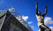 A general view of the Billy Bremner statue before during the npower Championship match between Leeds United and Nottingham Forest at Elland Road on...
