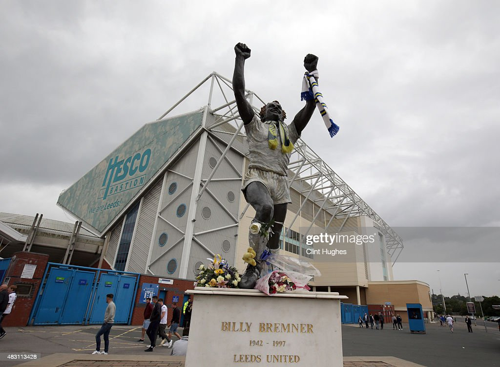 A general view of the Billy Bremner statue outside Elland Road during the Pre Season Friendly match between Leeds United and Everton at Elland Road...