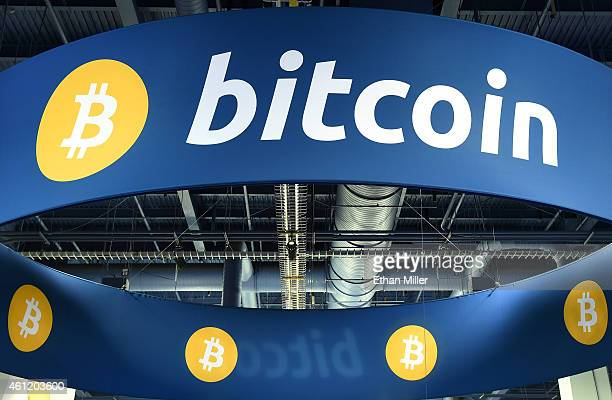 A general view of the Bitcoin booth at the 2015 International CES at the Las Vegas Convention Center on January 8 2015 in Las Vegas Nevada CES the...