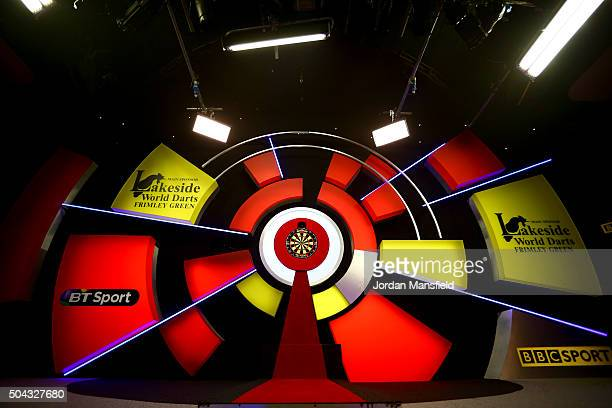 A general view of the board ahead of the start of the Mens final match between Scott Waites of England and Jeff Smith of Canada during Day Nine of...