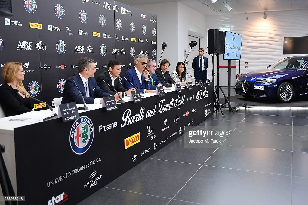 General view of the Bocelli and Zanetti Night press conference on May 24, 2016 in Arese, Italy.