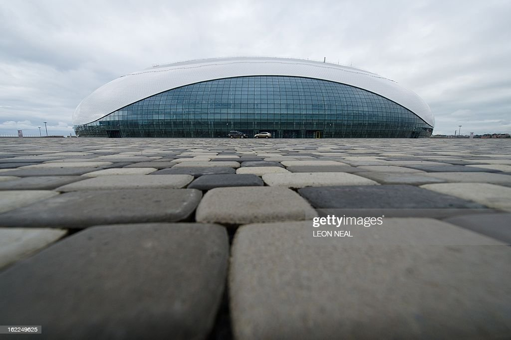 A general view of the Bolshoi Ice Palace ice hockey venue in the Olympic Park in Adler, Russia on February 21, 2013. With a year to go until the Sochi 2014 Winter Games, construction work continues as tests events and World Championship competitions are underway. AFP PHOTO / LEON NEAL