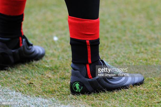 General view of the boots of Genoa goalkeeper Rubens Rubinho