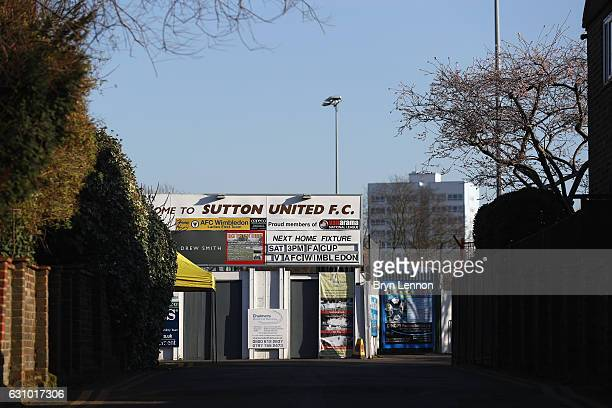 A general view of The Borough Sports Ground during media access to Sutton United FC ahead of their FA Cup 3rd round match against AFC Wimbledon on...