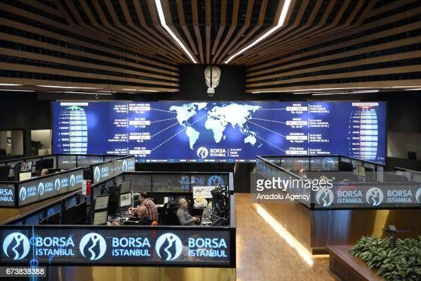 A general view of the Borsa Istanbul office in Istanbul Turkey on April 27 2017 The BIST 100 Index has increased to 9490697 points an increase of 041...