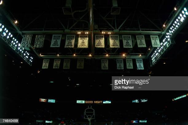 General view of the Boston Celtics championship banners hanging from the rafters of the Boston Garden in Boston Massachusetts NOTE TO USER User...