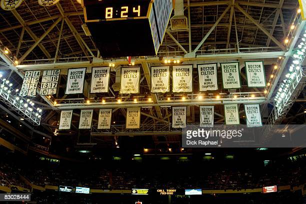 A general view of the Boston Celtics championship banners that hang from the Boston Garden rafters during a game between the Celtics and the Los...