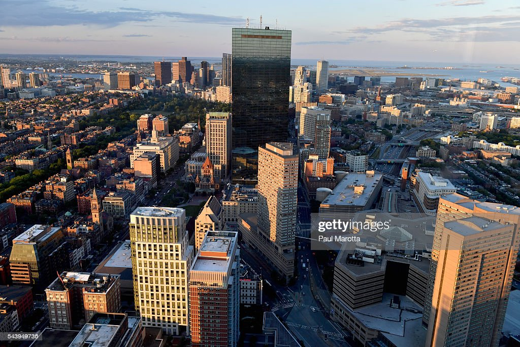 A general view of the Boston skyline and Hancock Tower as seen from the Prudential Building on June 30, 2016 in Boston, Massachusetts.