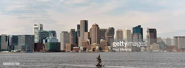 A general view of the Boston skyline from across Boston Harbor on April 11 2014 in Boston