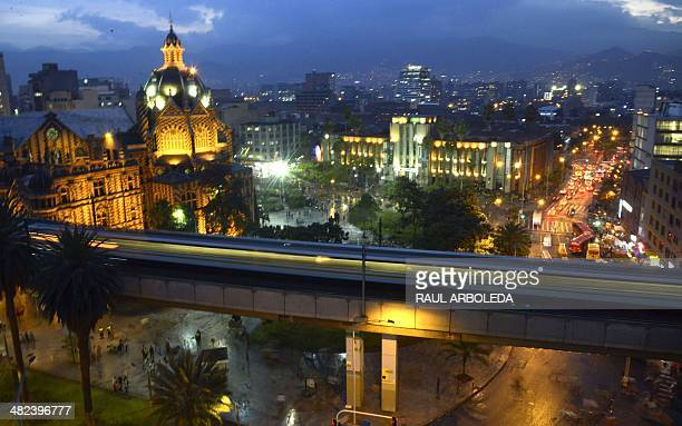 General view of the Botero's Park in Medellin Antioquia department Colombia on April 3 ahead of the World Urban Forum 7 which will take place in...