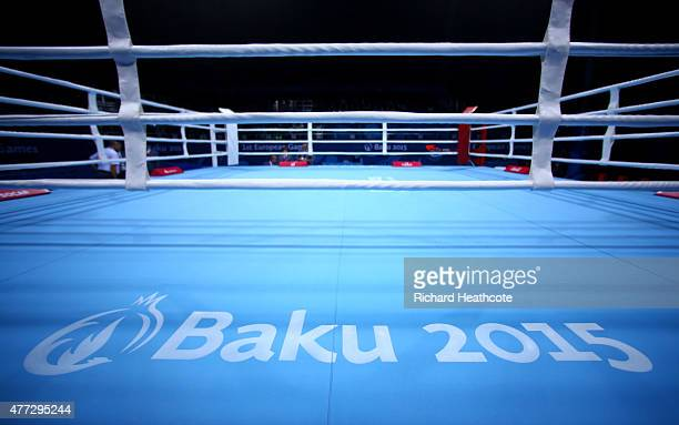 A general view of the boxing ring prior to the start of the Mens 52kg Flyweight Round of 32 bouts during day four of the Baku 2015 European Games at...