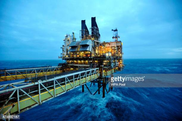 A general view of the BP ETAP oil platform in the North Sea on February 24 around 100 miles east of Aberdeen Scotland The British cabinet will meet...